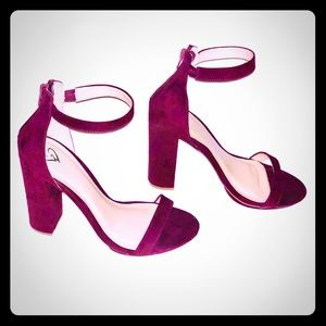 Shoes - Burgundy suede chunky heels size 7.5